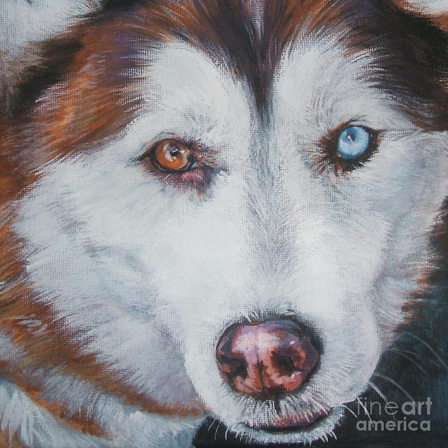 Siberian Husky Red Painting