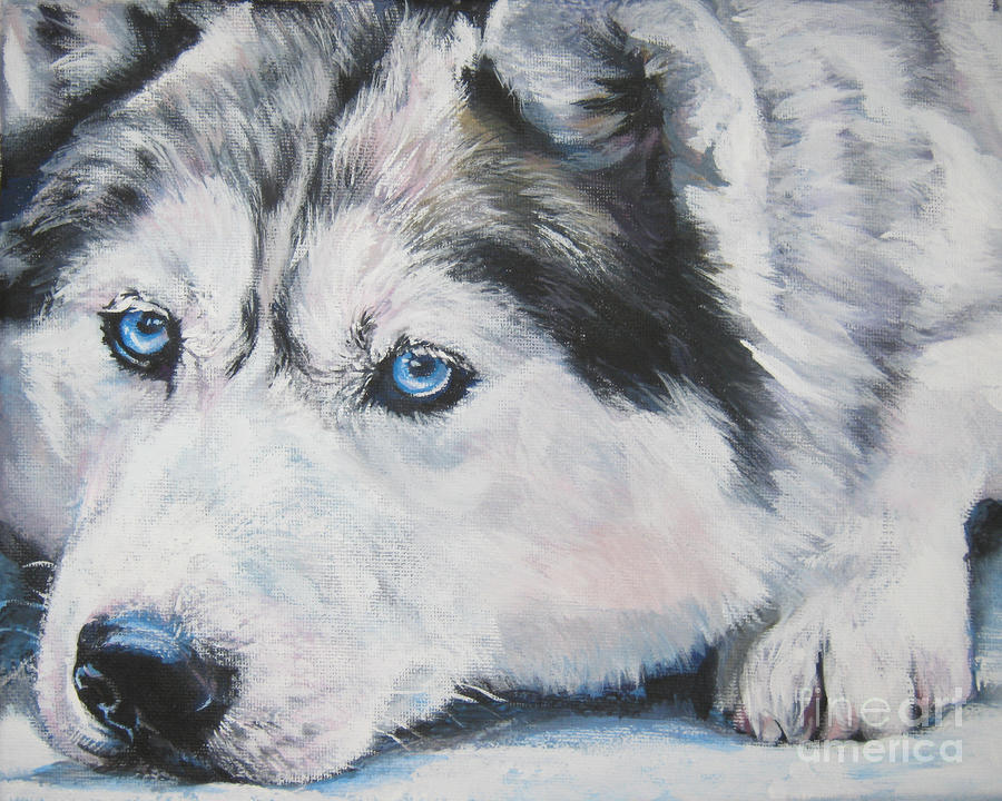 Siberian Husky Up Close Painting