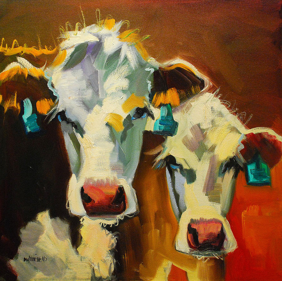 Sibling Cows Painting  - Sibling Cows Fine Art Print