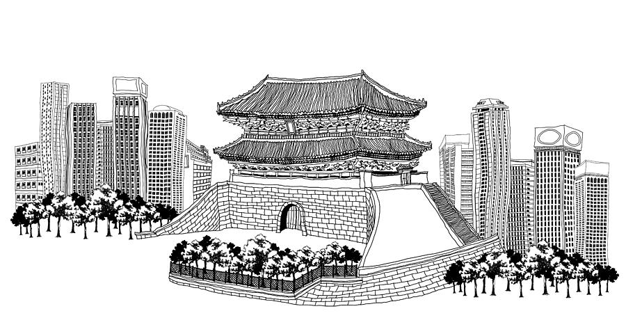 Side View Of Pagoda And Trees, Skyscrapers In Background Digital Art
