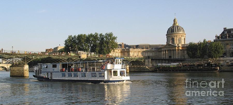 Sightseeing Boat On River Seine. Paris Photograph