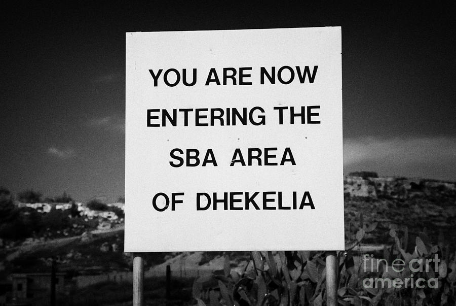 sign marking entrance of SBA Sovereign Base area of Dhekelia in the british controlled cyprus Photograph