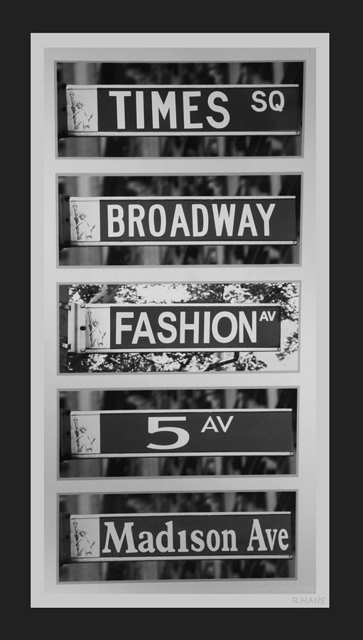 Signs Of New York In Black And White Photograph
