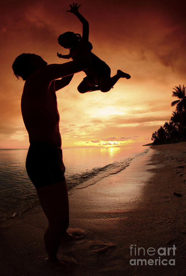 Silhouette Family Of Child Hold On Father Hand Photograph