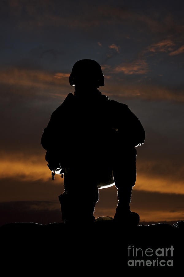 Silhouette Of A U.s. Marine In Uniform Photograph  - Silhouette Of A U.s. Marine In Uniform Fine Art Print