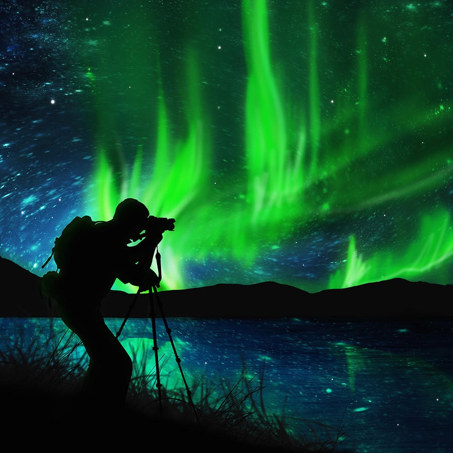 Silhouette Of Photographer Shooting Stars Photograph