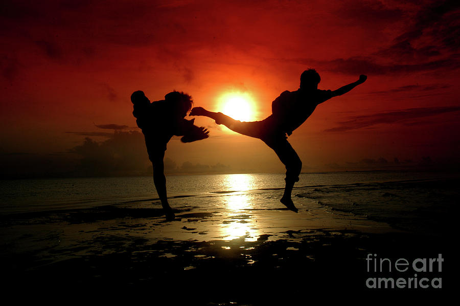 Silhouette Of Two People Fighting by Antoni Halim
