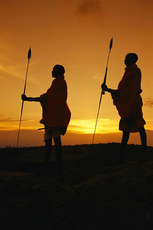 Silhouetted Laikipia Masai Guides Photograph