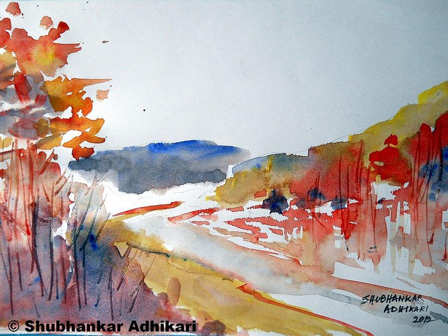 Landscape Painting - Siliguri  Recalls by Shubhankar Adhikari