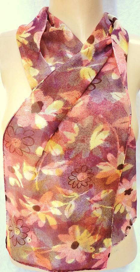 Silk Chiffon Scarf Fall Flowers Tapestry - Textile