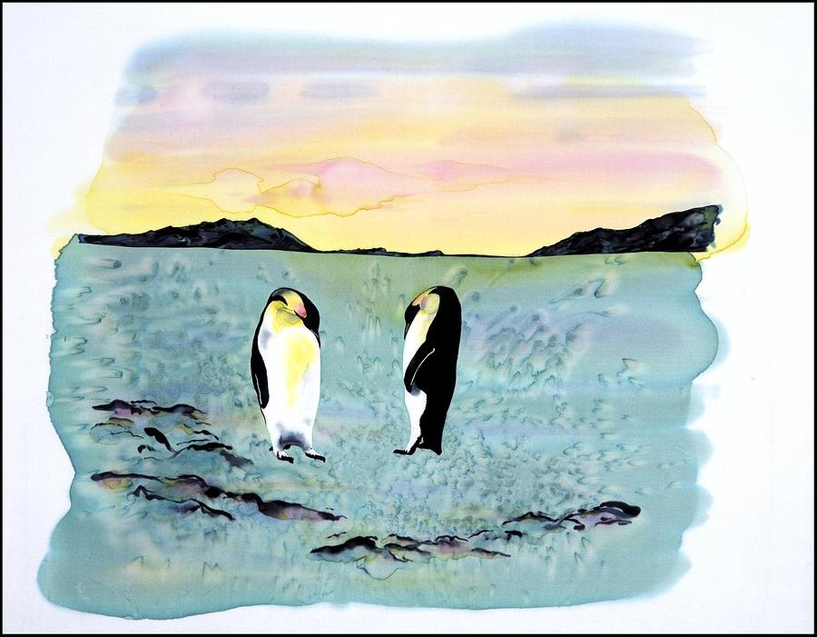 Silk Penguins Tapestry - Textile  - Silk Penguins Fine Art Print