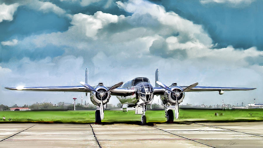 Silver Bird B-25 Digital Art  - Silver Bird B-25 Fine Art Print