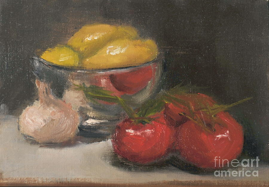 Silver Bowl With Lemons And Tomatoes Painting  - Silver Bowl With Lemons And Tomatoes Fine Art Print