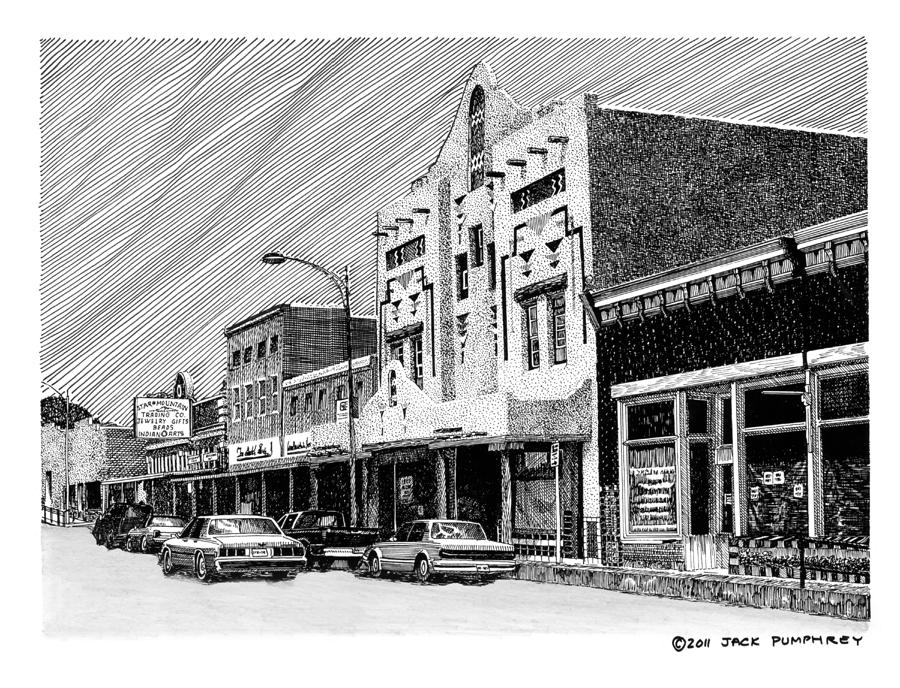 A Pen & Ink Drawing Of Burrard Street In Silver City Drawing - Silver City New Mexico by Jack Pumphrey