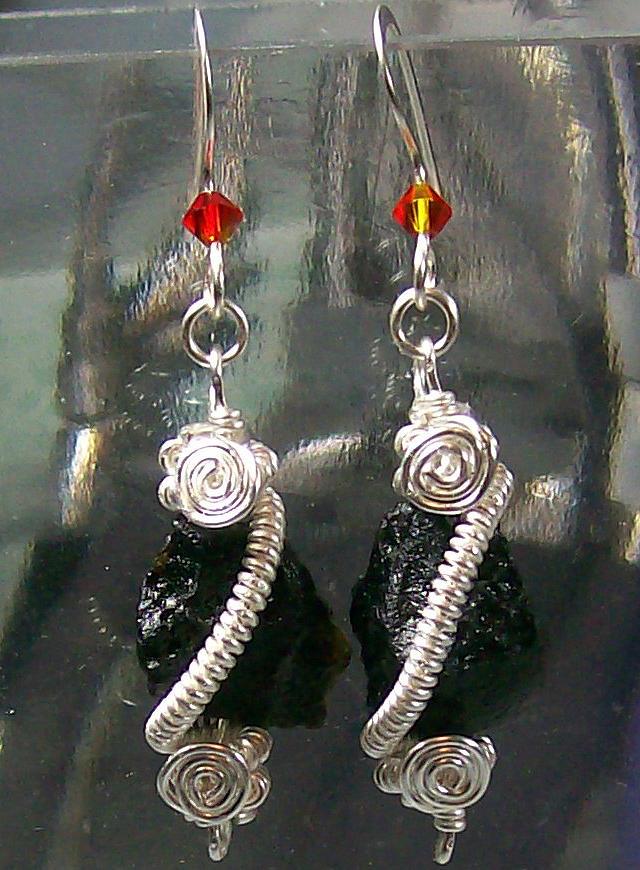 Jewelry Jewelry - Silver Coil Tektite Earrings by Heather Jordan
