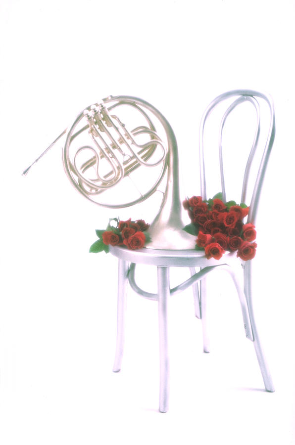 Silver French Horn On Silver Chair Photograph  - Silver French Horn On Silver Chair Fine Art Print