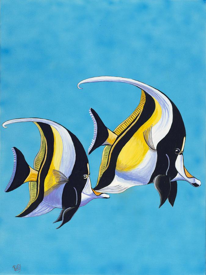 Simple fish moorish idols by patty vicknair for Easy fish painting