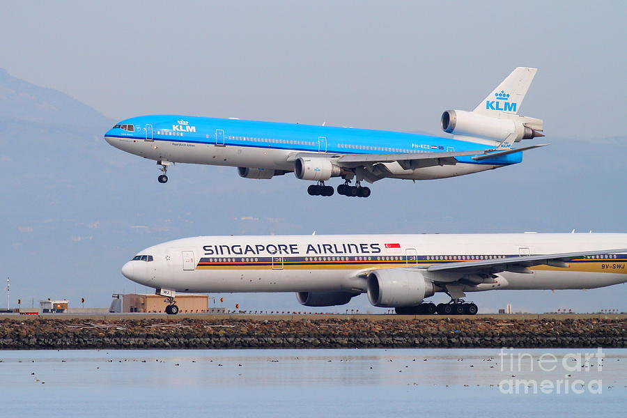 Singapore Airlines And Klm Airlines Jet Airplane At San Francisco International Airport Sfo 7d12153 Photograph