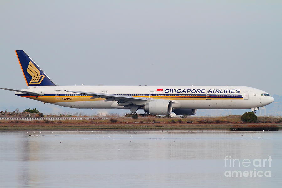 Singapore Airlines Jet Airplane At San Francisco International Airport Sfo . 7d12142 Photograph