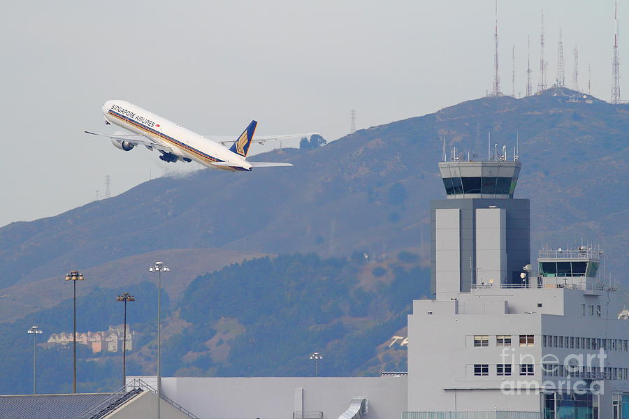 Singapore Airlines Jet Airplane Over The San Francisco International Airport Sfo Air Control Tower Photograph
