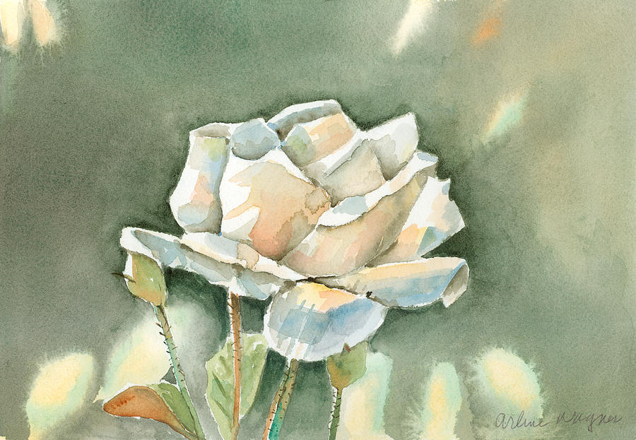 Single  White Rose Painting  - Single  White Rose Fine Art Print