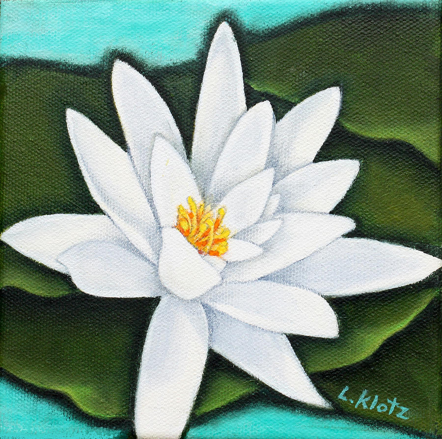 Single White Water Lily Painting  - Single White Water Lily Fine Art Print