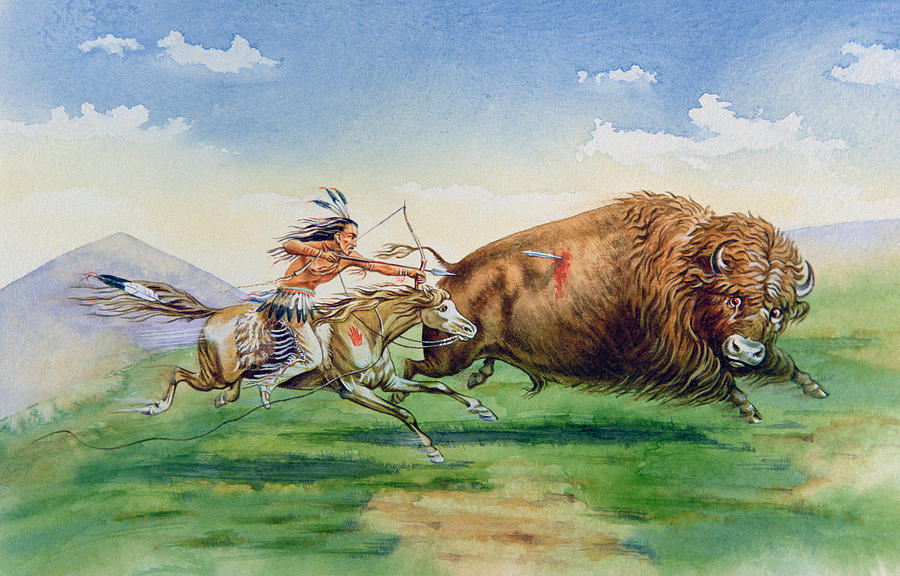 Sioux Hunting Buffalo On Decorated Pony Painting