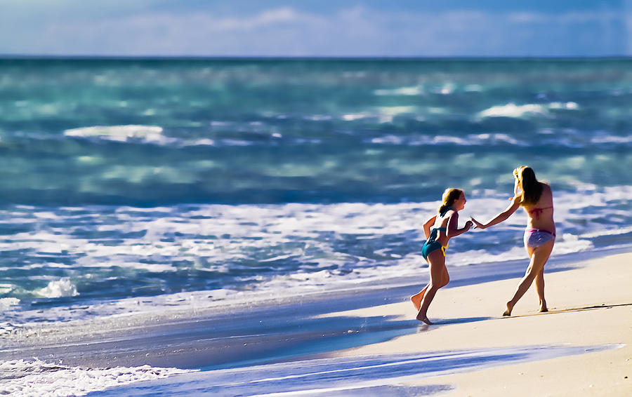 Beach Photograph - Sister Fun by Patrick M Lynch