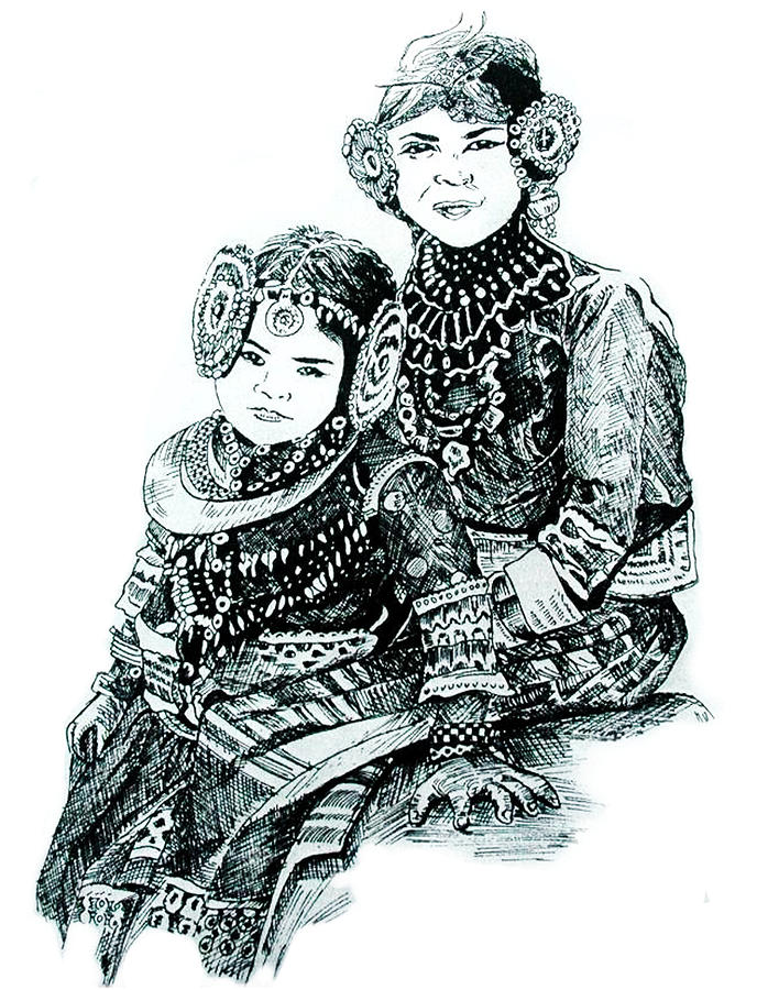 Sisters Drawing  - Sisters Fine Art Print