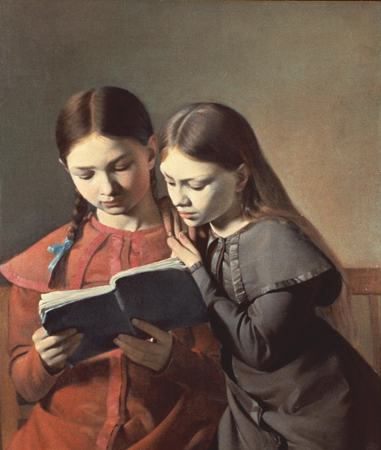 Sisters Reading A Book Painting  - Sisters Reading A Book Fine Art Print