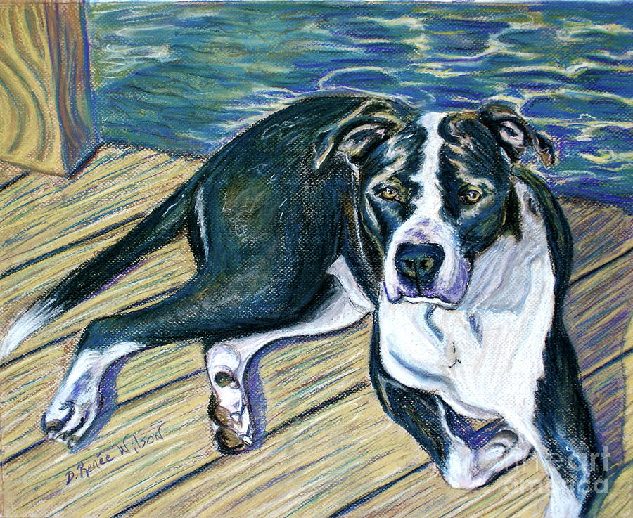 Dog Painting - Sittin On The Dock by D Renee Wilson