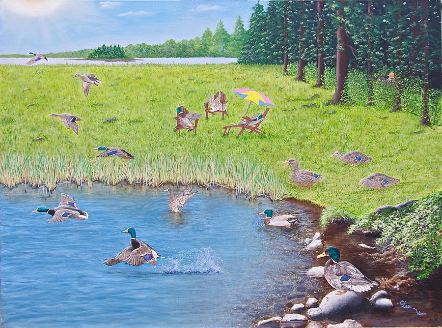 Sitting Ducks Painting  - Sitting Ducks Fine Art Print