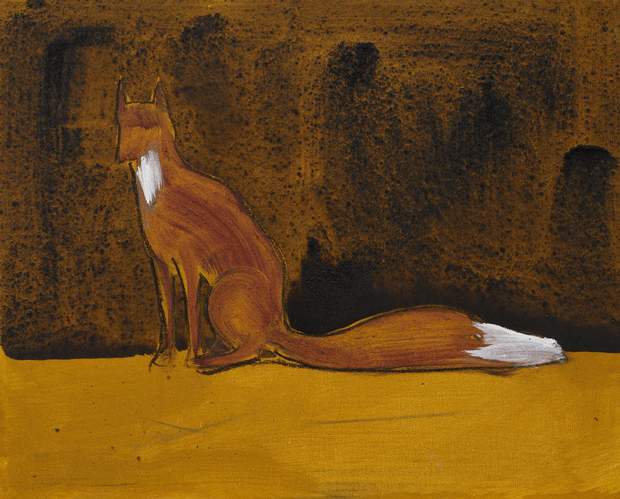 Sitting Fox In Iron Oxide And Lime Painting  - Sitting Fox In Iron Oxide And Lime Fine Art Print