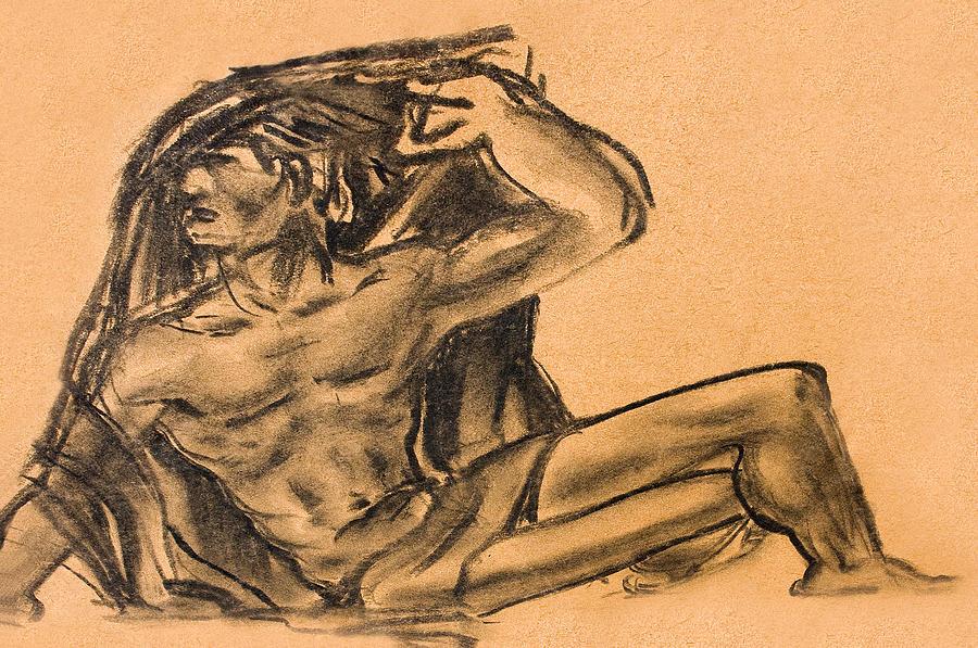 Sitting Human Charcoal Drawing  Drawing
