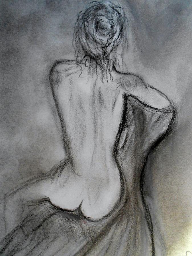 Charcoal Woman Nude Back Drawing - Sitting by Mary DeLawder