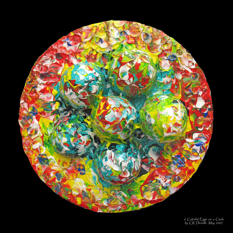 Six  Colorful  Eggs  On  A  Circle Painting  - Six  Colorful  Eggs  On  A  Circle Fine Art Print