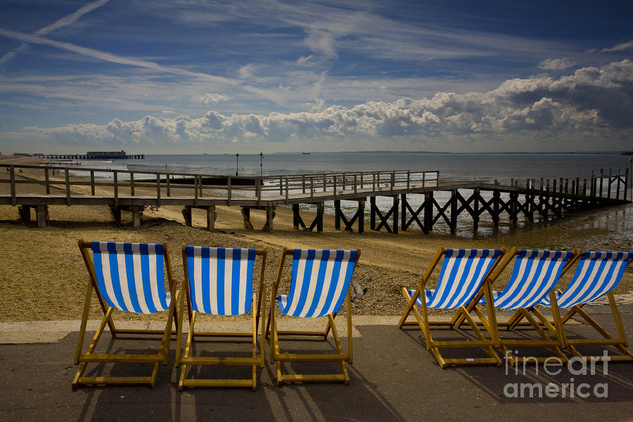 Six Empty Deckchairs Photograph