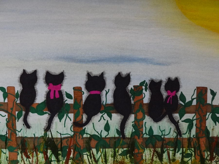 Six Furry Felines Mixed Media