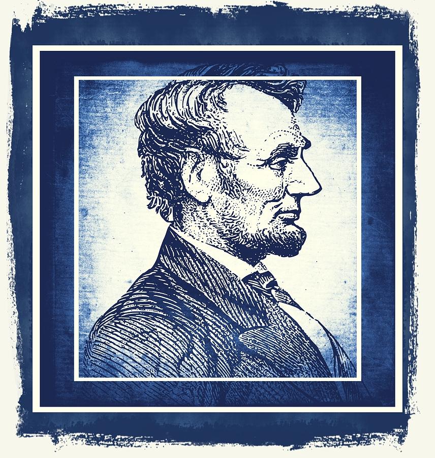 Sixteenth President Blue Mixed Media
