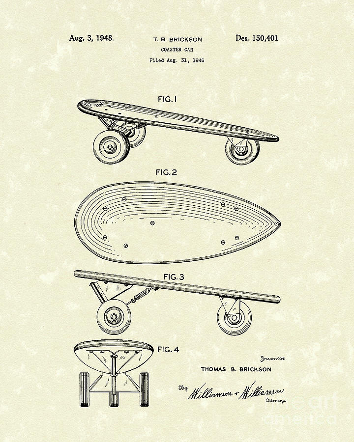 Skateboard Coaster Car 1948 Patent Art  Drawing