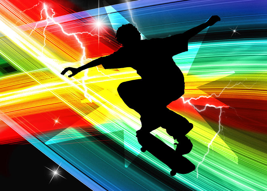 Skateboarder In Criss Cross Lightning Painting  - Skateboarder In Criss Cross Lightning Fine Art Print