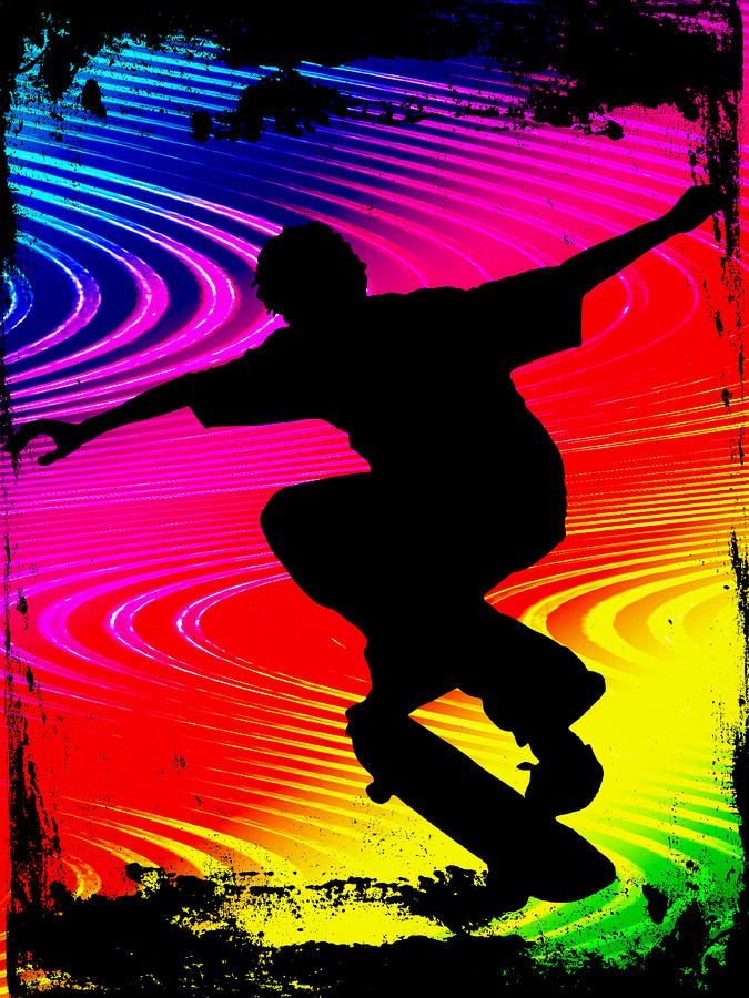 Skateboarding On Rainbow Grunge Background Painting  - Skateboarding On Rainbow Grunge Background Fine Art Print