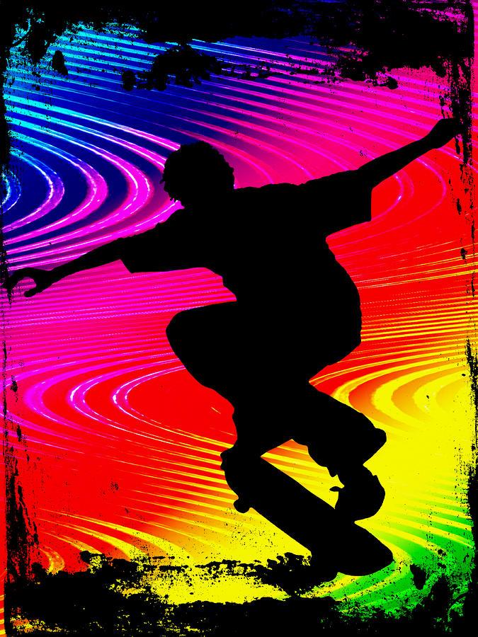 Skateboarding On Rainbow Grunge Background Painting