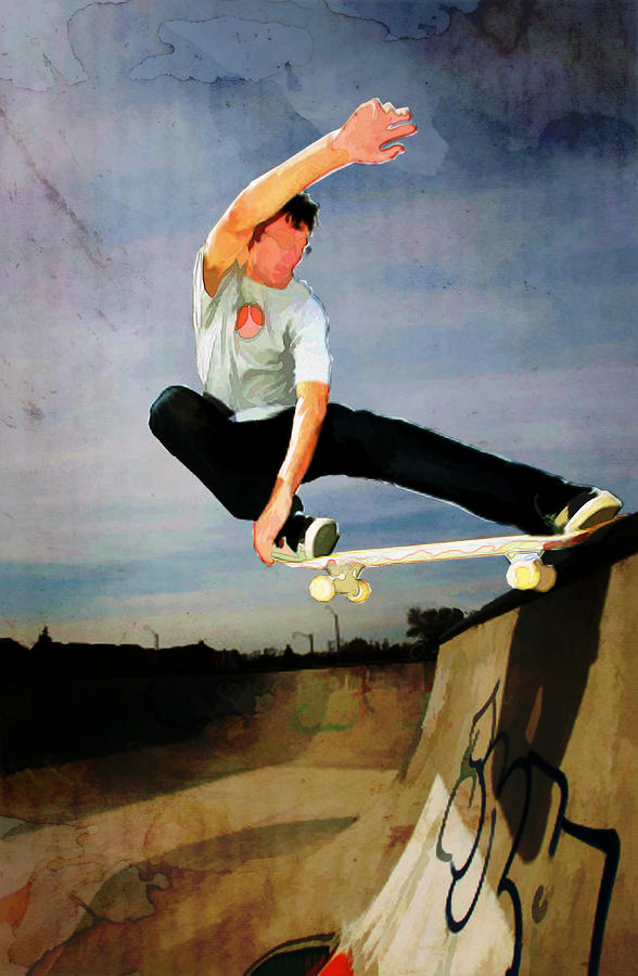 Skateboarding The Wall  Painting
