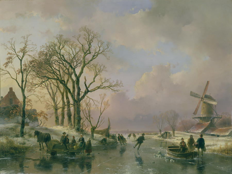 Skating In Holland Painting  - Skating In Holland Fine Art Print