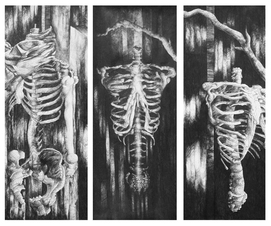 Skeletons In Black Drawing  - Skeletons In Black Fine Art Print