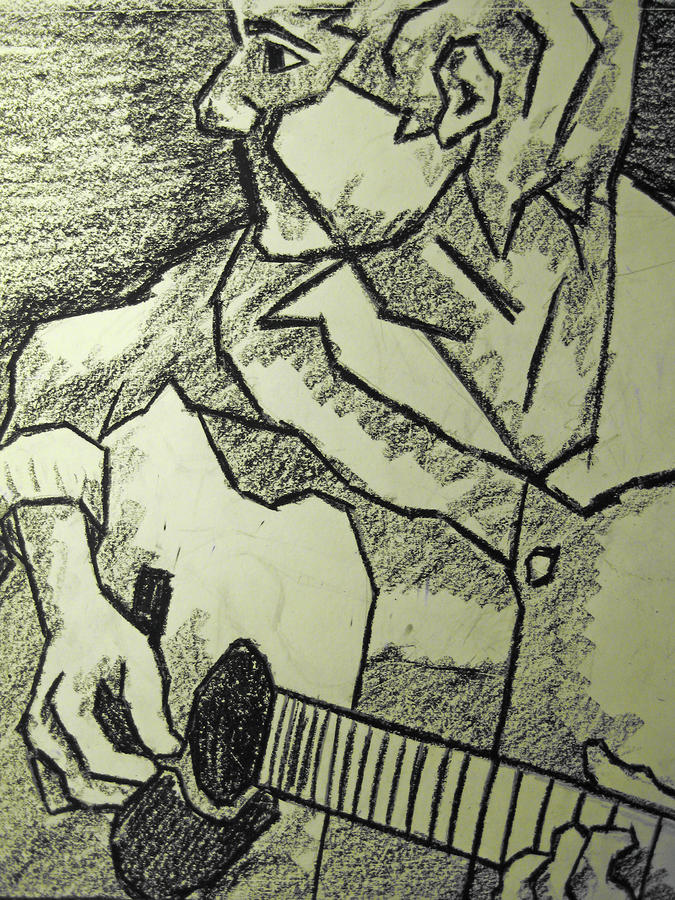 Sketch - Guitar Man Drawing  - Sketch - Guitar Man Fine Art Print