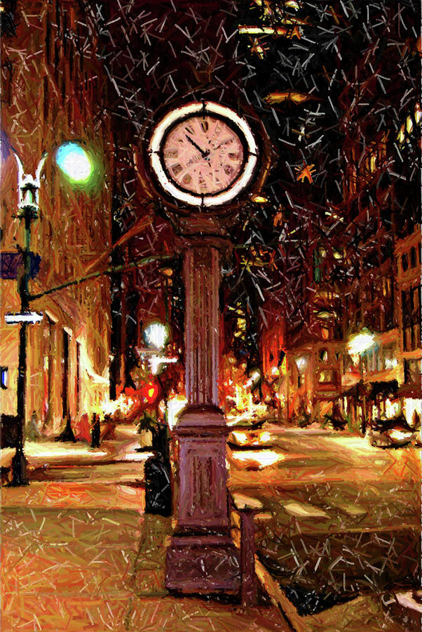 Sketch Of Midtown Clock In The Snow Digital Art  - Sketch Of Midtown Clock In The Snow Fine Art Print