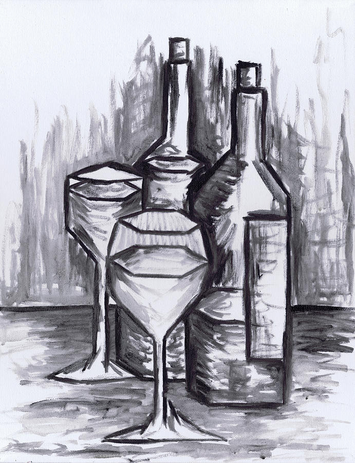 Sketch - Still Life With Wine Painting  - Sketch - Still Life With Wine Fine Art Print