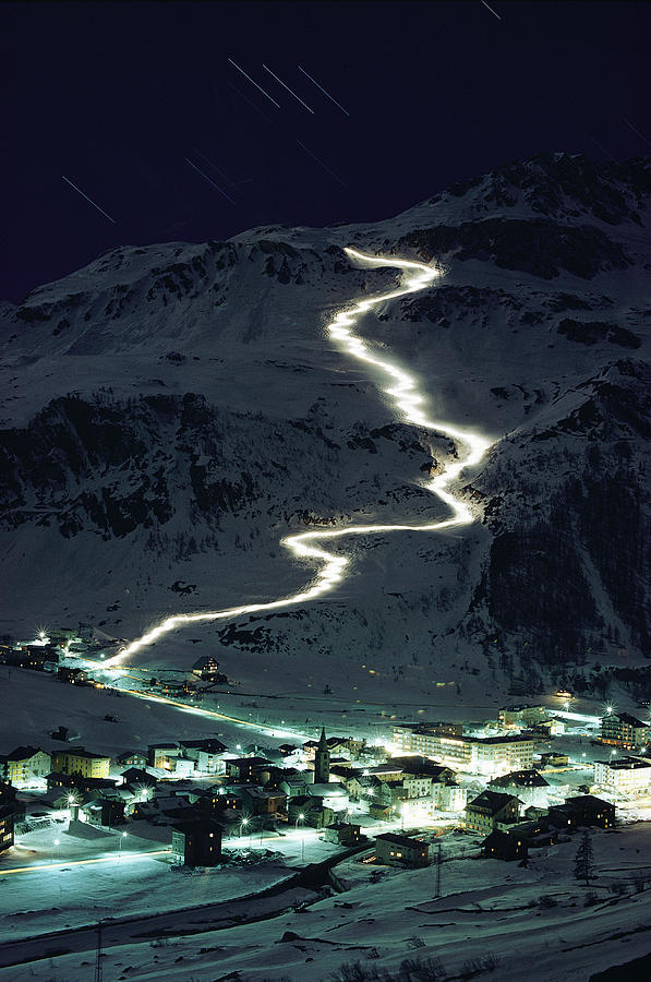 Skiers Bearing Torches Ski Down Mont Photograph  - Skiers Bearing Torches Ski Down Mont Fine Art Print